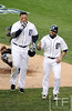 Oct 18, 2012; Detroit, MI, USA; Detroit Tigers third baseman Miguel Cabrera (left) celebrates with second baseman Omar Infante (right) after hitting a two-run home run against the New York Yankees in the fourth inning during game four of the 2012 ALCS at Comerica Park.   Mandatory Credit: Tim Fuller-USA TODAY Sports