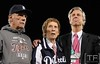 Oct 18, 2012; Detroit, MI, USA; Detroit Tigers manager Jim Leyland (left) , owner Mike Ilitch (middle), and general manager Dave Dombrowski stand on a stage after game four of the 2012 ALCS against the New York Yankees at Comerica Park.  The Tigers won 8-1 to sweep the series and advance to the World Series.  Mandatory Credit: Tim Fuller-USA TODAY Sports