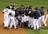 Oct 18, 2012; Detroit, MI, USA; Detroit Tigers players celebrate on the field after game four of the 2012 ALCS against the New York Yankees at Comerica Park.  The Tigers won 8-1 to sweep the series and advance to the World Series.  Mandatory Credit: Tim Fuller-USA TODAY Sports