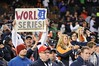 Oct 18, 2012; Detroit, MI, USA; Detroit Tigers fans celebrate and hold up a sign after game four of the 2012 ALCS against the New York Yankees at Comerica Park.  The Tigers won 8-1 to sweep the series and advance to the World Series.  Mandatory Credit: Tim Fuller-USA TODAY Sports