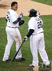 Oct 18, 2012; Detroit, MI, USA; Detroit Tigers third baseman Miguel Cabrera (left) celebrates with first baseman Prince Fielder (28) after hitting a two-run home run against the New York Yankees in the fourth inning during game four of the 2012 ALCS at Comerica Park.   Mandatory Credit: Tim Fuller-USA TODAY Sports