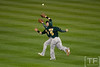 Oct 6, 2012; Detroit, MI, USA; Oakland Athletics shortstop Cliff Pennington (2) makes a out while running into shortstop Stephen Drew (5) during the third inning of game one of the 2012 ALDS against the Detroit Tigers at Comerica Park.  Mandatory Credit: Tim Fuller-US PRESSWIRE