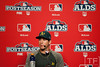 Oct 6, 2012; Detroit, MI, USA; Oakland Athletics starting pitcher Tommy Milone (57) talks to the media before game one of the 2012 ALDS against the Detroit Tigers at Comerica Park.  Mandatory Credit: Tim Fuller-US PRESSWIRE