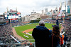 Oct 6, 2012; Detroit, MI, USA; A general view as fans cheer before the start  of game one of the 2012 ALDS between the Detroit Tigers and the Oakland Athletics at Comerica Park. Mandatory Credit: Tim Fuller-US PRESSWIRE