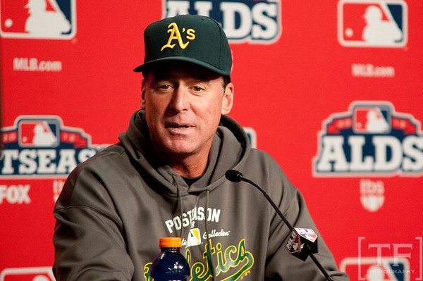 Oct 6, 2012; Detroit, MI, USA; Oakland Athletics manager Bob Melvin (6) talks to the media before game one of the 2012 ALDS against the Detroit Tigers at Comerica Park.  Mandatory Credit: Tim Fuller-US PRESSWIRE
