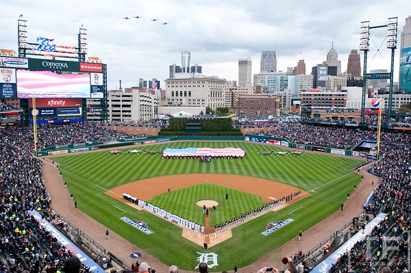 Oct 6, 2012; Detroit, MI, USA; A4 Warthogs fly over during the National Anthem of game one of the 2012 ALDS between the Detroit Tigers and the Oakland Athletics at Comerica Park.  Mandatory Credit: Tim Fuller-US PRESSWIRE
