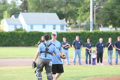 Alliance Spartans versus WESTCO Zephyrs on Wednesday's game in Alliance, Nebraska. Alliance Police Officer Kirk Felker throws out the first pitch. Officer Felker was an initial responder to the hostage situation one year ago. He was wounded by gunfire. The Spartans paid tribute to the first responders and has Officer Felker throw the first pitch of the game.