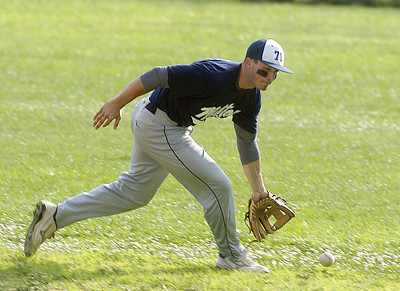 Milton's Second Baseman, Jordon Bordner, goes after the ball before making the out during Monday's game against Lewisburg.