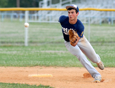 Milton's Damian Moyer fields a hit during their game against Watsontown Wednesday June 27, 2012.