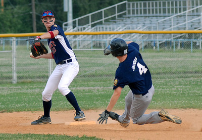 Milton's Michael Jacobs breaks up the double play throw by Watsontown's Vance Meyer during their American Legion game Wednesday June 27, 2012.