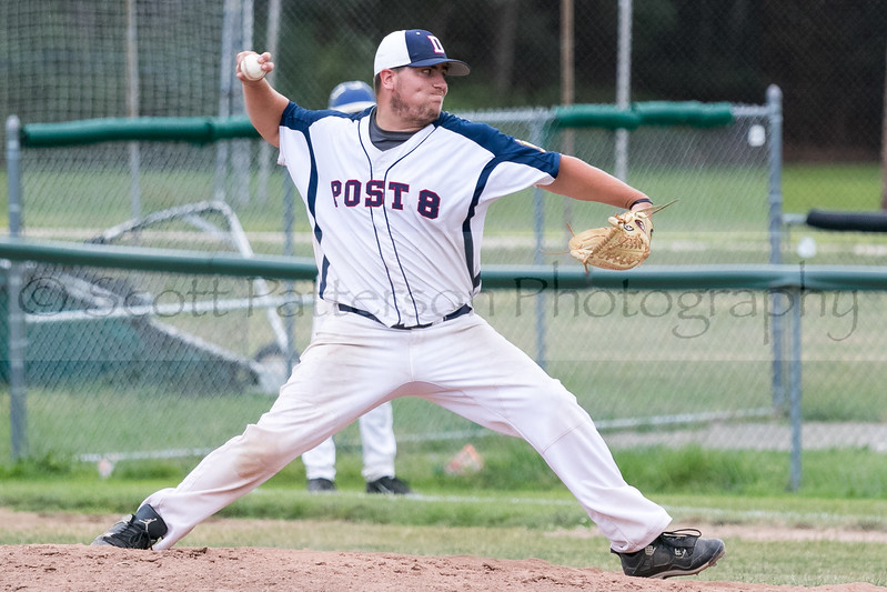 Dover Post 8's starter Wes Tobin delivers during Senior American Legion Baseball Monday night in Dover. Photo by Scott Patterson/Fosters.com