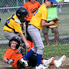 WARREN  DILLAWAY | Star Beacon <br /> Ashtabula Major League pitcher Brady Cole, right, stands up after a collision with Tiger's Anthony Lewis after a play at the plate on Thursday evening at Cederquist Park in Ashtabula. Lewis was safe.