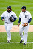 Oct 7, 2012; Detroit, MI, USA; Detroit Tigers first baseman Prince Fielder (left)and third baseman Miguel Cabrera (24) during game two of the 2012 ALDS against the Oakland Athletics at Comerica Park.  Detroit won 5-4. Mandatory Credit: Tim Fuller-US PRESSWIRE
