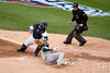Oct 7, 2012; Detroit, MI, USA; Detroit Tigers catcher Gerald Laird (9) tags out Oakland Athletics center fielder Coco Crisp (4) during the third inning of game two of the 2012 ALDS at Comerica Park.  Mandatory Credit: Tim Fuller-US PRESSWIRE