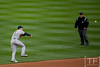 Oct 7, 2012; Detroit, MI, USA; Oakland Athletics shortstop Stephen Drew (5) makes a play at shortstop during the fourth inning of game two of the 2012 ALDS against the Detroit Tigers at Comerica Park.  Mandatory Credit: Tim Fuller-US PRESSWIRE