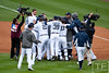 Oct 7, 2012; Detroit, MI, USA; Detroit Tigers celebrate after defeating the Oakland Athletics 5-4 in game two of the 2012 ALDS at Comerica Park.  Mandatory Credit: Tim Fuller-US PRESSWIRE