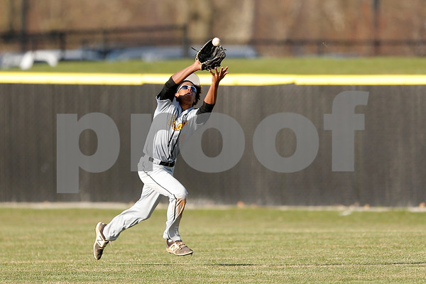 Avon High Orioles sophomore Cam Melvin (9) chases down the fly ball for the out during the game between the Avon Orioles and Plainfield Quakers at Plainfield High School in Plainfield,IN. (Jeff Brown/Flyer Photo)