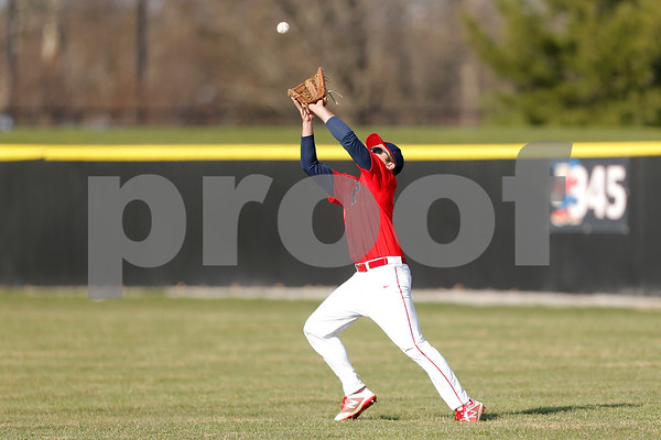 Plainfield Quaker outfielder Miller Nichols (26) hauls in the fly ball during the game between the Avon Orioles and Plainfield Quakers at Plainfield High School in Plainfield,IN. (Jeff Brown/Flyer Photo)