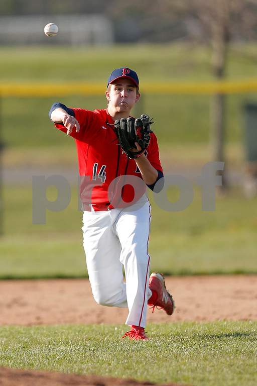 Plainfield Quaker infielder Davis Gellert (14) fires to first  for the out during the game between the Avon Orioles and Plainfield Quakers at Plainfield High School in Plainfield,IN. (Jeff Brown/Flyer Photo)