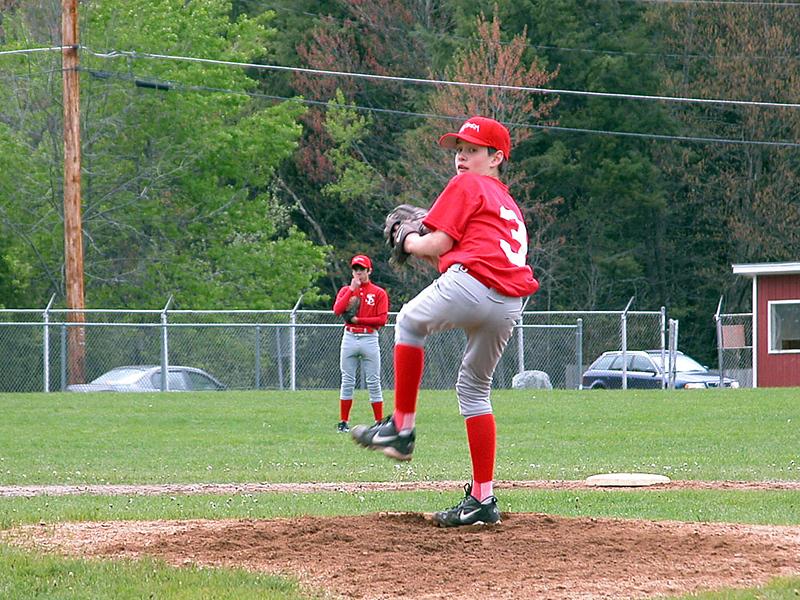Saranac Lake v Saranac • Mathew on the pitcher's mound
