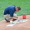 Putting a red, white and blue touch to the Milwaukee symbol on the pitcher's mound.