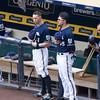 Cody Ransom and Travis Ishikawa observe the national anthem.
