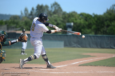 Butte catcher Dominic Visentin connects in the fourth inning as Butte College plays baseball Saturday, April 16, 2016, against Feather River College at Cowan Field in Butte Valley, California. (Dan Reidel -- Enterprise-Record)