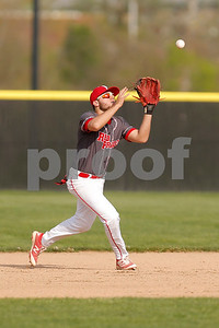 Plainfield High School second baseman Luke Castetter  (2) makes the catch of the pop fly during the game between Cascade vs Plainfield at  Plainfield  High School in Plainfield,IN. (Jeff Brown/Flyer Photo)