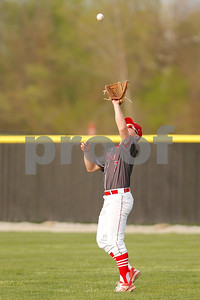 Plainfield High School outfielder Cooper Nichols  (7) camps out under the fly ball and makes the catch during the game between Cascade vs Plainfield at  Plainfield  High School in Plainfield,IN. (Jeff Brown/Flyer Photo)