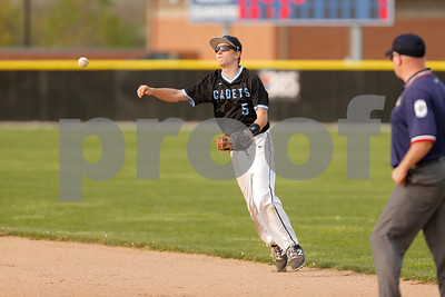 Cascade High School second baseman AJ Sanders  (5) makes the throw to first for the out during the game between Cascade vs Plainfield at  Plainfield  High School in Plainfield,IN. (Jeff Brown/Flyer Photo)