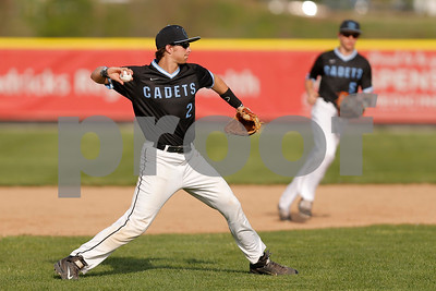 Cascade High School shortstop Mitch Duncan  (2) looks to first and completes the throw for the out during the game between Cascade vs Plainfield at  Plainfield  High School in Plainfield,IN. (Jeff Brown/Flyer Photo)