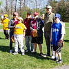 Fitchburg City Councilor Elizabeth Walsh, Mayor Stephen DiNatale, center, and state Rep. Stephan Hay pose with players during opening day for Challenger Little League at Coggshall Park in Fitchburg on Saturday, May 5, 2018. SENTINEL & ENTERPRISE PHOTOS / GARY FOURNIER