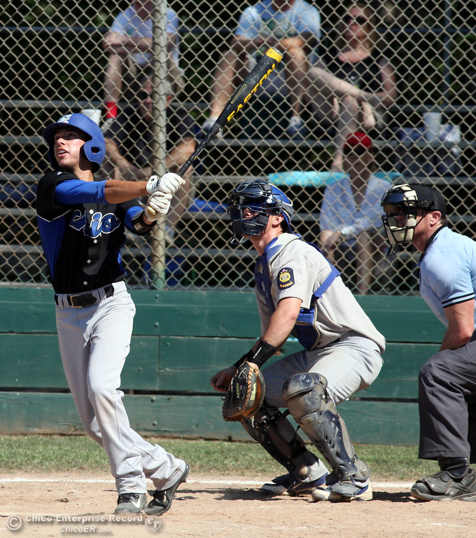 . Chico Nuts\' #2 Reggie Points at bat against Redding Tigers in the top of the third inning during their American Legion baseball game at Doryland field Friday, July 19, 2013 in Chico, Calif.  (Jason Halley/Chico Enterprise-Record)