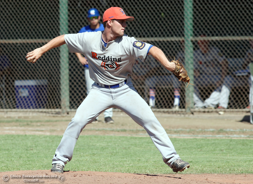 . Redding Tigers\' #2 Daniel Olson pitches against Chico Nuts in the top of the fourth inning during their American Legion baseball game at Doryland field Friday, July 19, 2013 in Chico, Calif.  (Jason Halley/Chico Enterprise-Record)