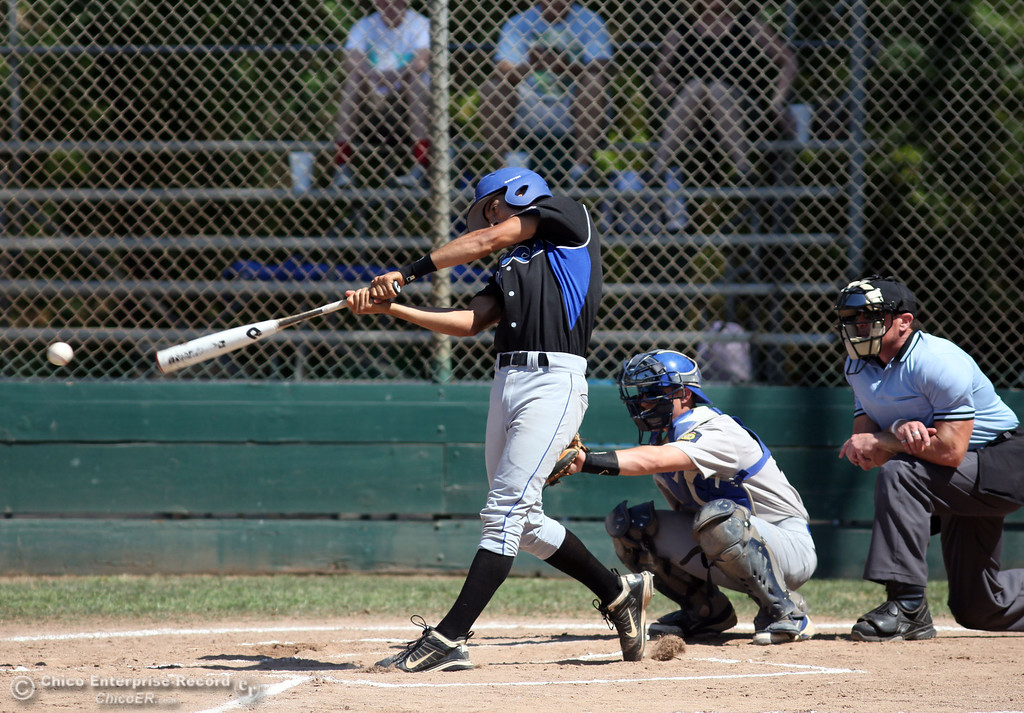 . Chico Nuts\' #12 Michael Sanderson at bat against Redding Tigers in the top of the first inning during their American Legion baseball game at Doryland field Friday, July 19, 2013 in Chico, Calif.  (Jason Halley/Chico Enterprise-Record)