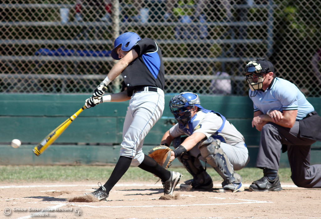 . Chico Nuts\' #5 Greg Darms at bat against Redding Tigers in the top of the first inning during their American Legion baseball game at Doryland field Friday, July 19, 2013 in Chico, Calif.  (Jason Halley/Chico Enterprise-Record)