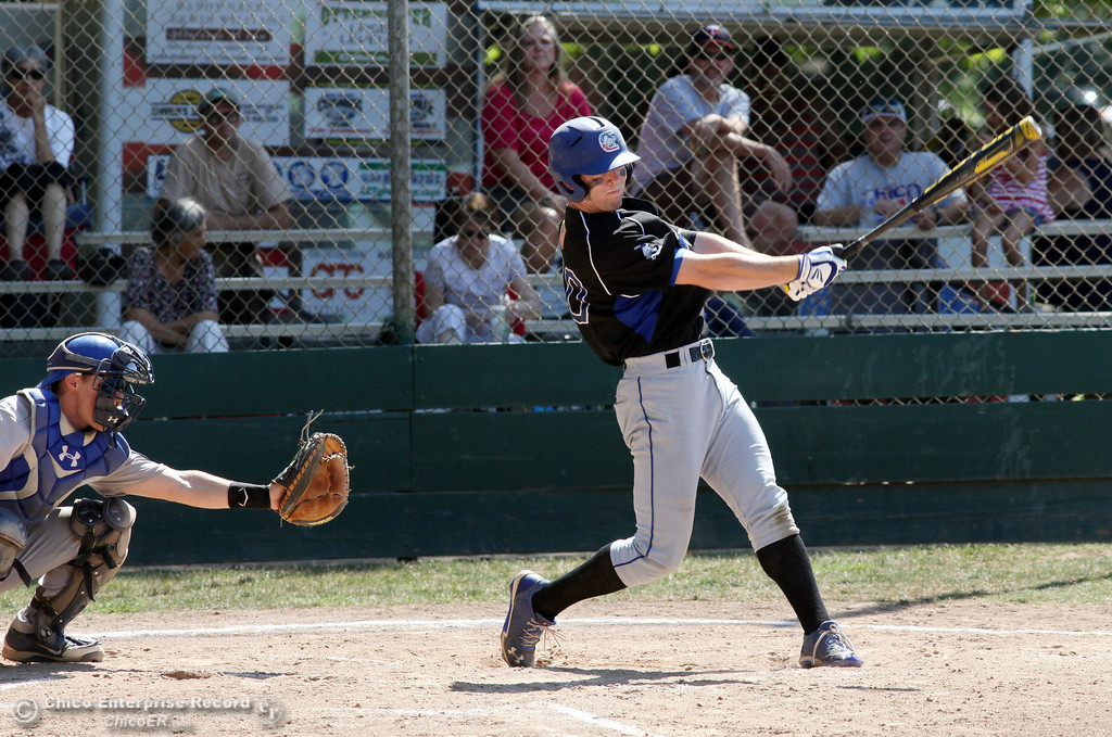 . Chico Nuts\' #20 Jackson Murphy knocks a single against Redding Tigers in the top of the second inning during their American Legion baseball game at Doryland field Friday, July 19, 2013 in Chico, Calif.  (Jason Halley/Chico Enterprise-Record)