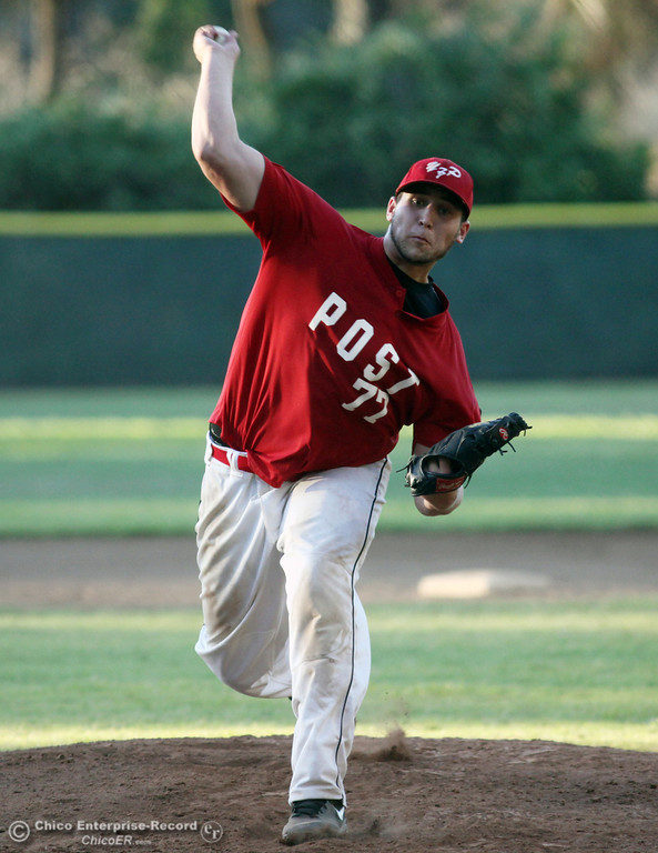 . Yolo Post 77\'a #27 Thomas Galart pitches against Chico Nuts in the bottom of the second inning during their American Legion baseball game at Doryland Field Thursday, July 18, 2013 in Chico, Calif.  (Jason Halley/Chico Enterprise-Record)