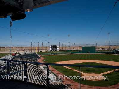 A view down the third base line at the Goodyear Ballpark - Cleveland Indians Spring Training Stadium