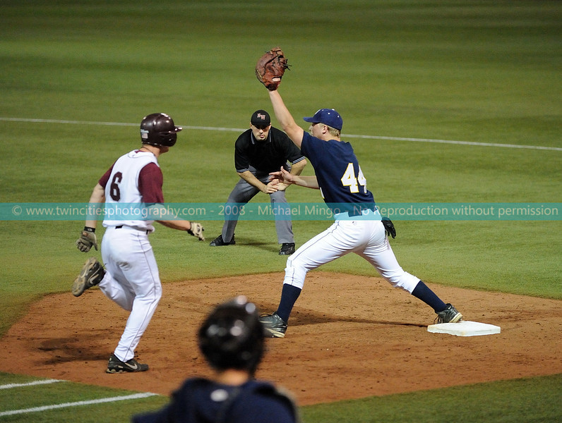 """<font size=""""3"""" face=""""Verdana"""" font color=""""white"""">2008 College Baseball - #44 Brad Eckelmann</font> <font size=""""2"""" face=""""Verdana"""" font color=""""#5CB3FF""""> Augsburg College Auggies playing Carleton College Knights at the Metrodome in Minneapolis on April 10, 2008. </font> <br>"""