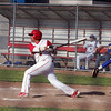 Lindsay Cardinal Victor Espinoza gets a hit against the Corcoran Panthers on Thursday, May 2, 2013.