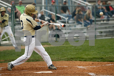 Tri-West  High School infielder Tanner Freije  (3) connects for a single during the  game between Crawfordsville vs Tri-West at  Tri-West High School in Lizton,IN. (Jeff Brown/Flyer Photo)