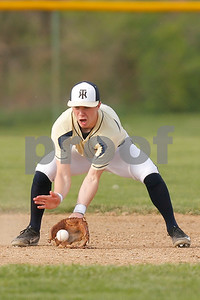Tri-West  High School shortstop Lucas Goodin  (2) fields the ground ball  and gets the out during the  game between Crawfordsville vs Tri-West at  Tri-West High School in Lizton,IN. (Jeff Brown/Flyer Photo)