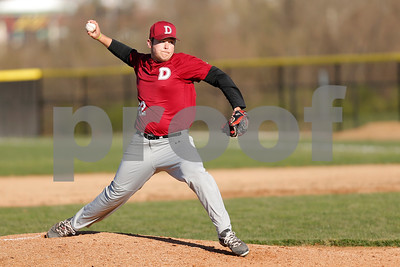Danville High School pitcher Isaac MacGregor (22) brings the pitch to the plate during the game between Danville vs Plainfield at  Plainfield High School in Plainfield,IN. (Jeff Brown/Flyer Photo)