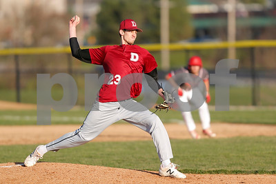 Danville High School pitcher Tristan Murrell (23) brings the pitch to the plate during the game between Danville vs Plainfield at  Plainfield High School in Plainfield,IN. (Jeff Brown/Flyer Photo)