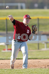 Danville High School third baseman Jackson Wynn (6) fires the ball to first for the out during the game between Danville vs Plainfield at  Plainfield High School in Plainfield,IN. (Jeff Brown/Flyer Photo)