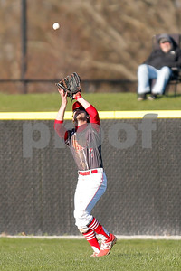 Plainfield High School outfielder Gavin Jacobs  (13) hauls in the fly ball for the out during the game between Danville vs Plainfield at  Plainfield High School in Plainfield,IN. (Jeff Brown/Flyer Photo)