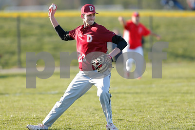 Danville High School pitcher Tristan Murrell (23) makes the throw to first for the out during the game between Danville vs Plainfield at  Plainfield High School in Plainfield,IN. (Jeff Brown/Flyer Photo)