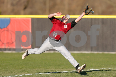 Danville High School right fielder Gavin Hensely (14) just misses catching the foul ball during the game between Danville vs Plainfield at  Plainfield High School in Plainfield,IN. (Jeff Brown/Flyer Photo)
