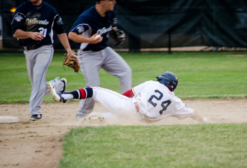 Wachusett Dirt Dawg's Grant Hoover is tagged out at second base during the game against the Worcester Bravehearts on Tuesday evening at Doyle Field. SENTINEL & ENTERPRISE  / Ashley Green